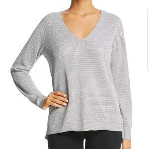 NYDJ gray metallic double v neck sweater NWT Med
